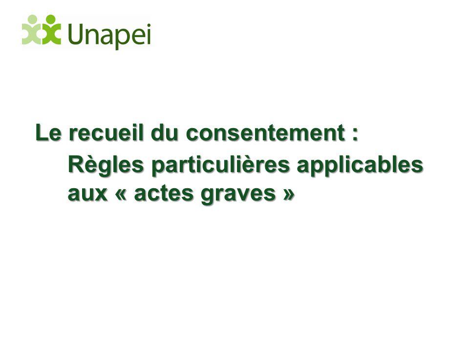 Le recueil du consentement : Règles particulières applicables aux « actes graves »