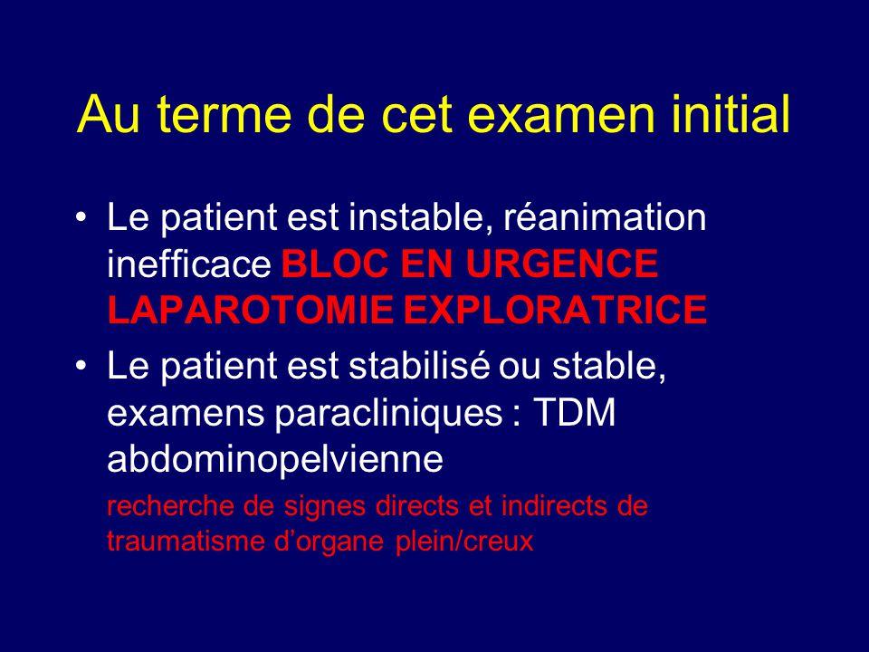 Au terme de cet examen initial •Le patient est instable, réanimation inefficace BLOC EN URGENCE LAPAROTOMIE EXPLORATRICE •Le patient est stabilisé ou