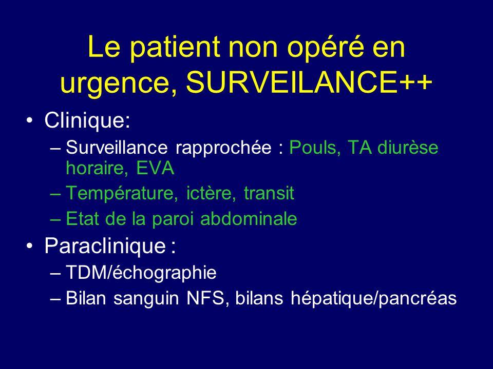 Le patient non opéré en urgence, SURVEILANCE++ •Clinique: –Surveillance rapprochée : Pouls, TA diurèse horaire, EVA –Température, ictère, transit –Eta