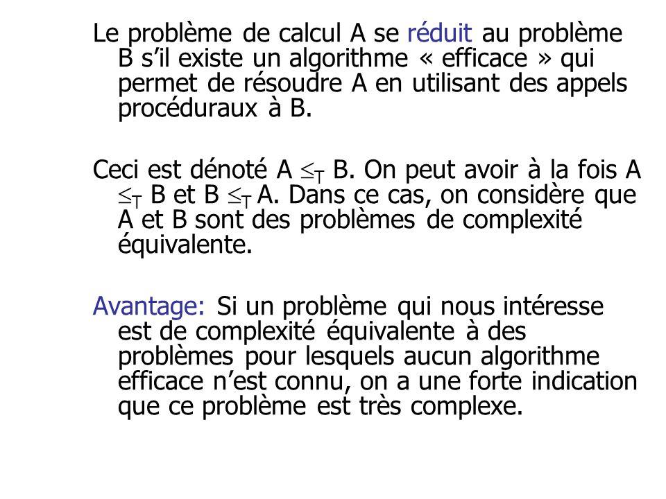 Le problème de calcul A se réduit au problème B s'il existe un algorithme « efficace » qui permet de résoudre A en utilisant des appels procéduraux à