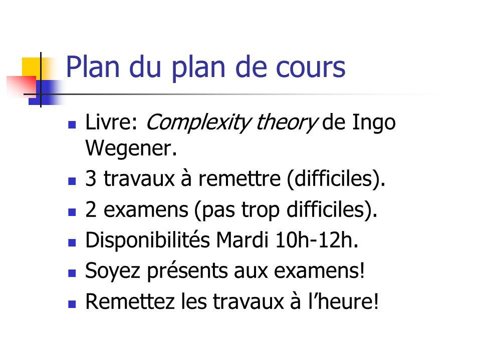 Plan du plan de cours  Livre: Complexity theory de Ingo Wegener.  3 travaux à remettre (difficiles).  2 examens (pas trop difficiles).  Disponibil