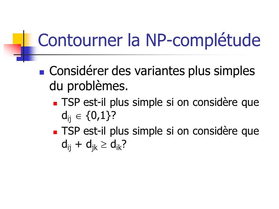 Contourner la NP-complétude  Considérer des variantes plus simples du problèmes.  TSP est-il plus simple si on considère que d ij  {0,1}?  TSP est