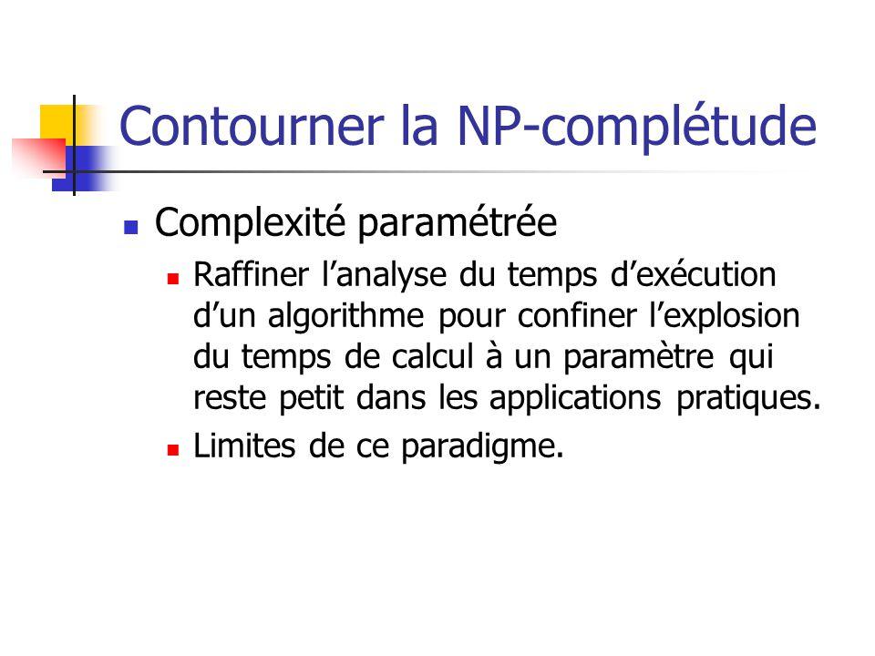 Contourner la NP-complétude  Complexité paramétrée  Raffiner l'analyse du temps d'exécution d'un algorithme pour confiner l'explosion du temps de ca