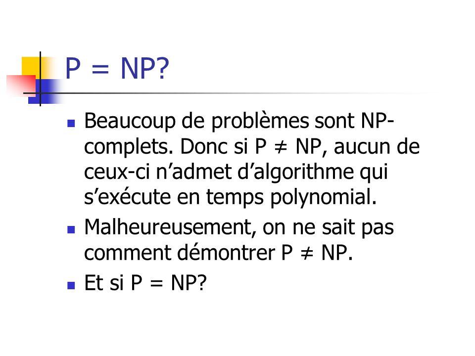 P = NP?  Beaucoup de problèmes sont NP- complets. Donc si P ≠ NP, aucun de ceux-ci n'admet d'algorithme qui s'exécute en temps polynomial.  Malheure