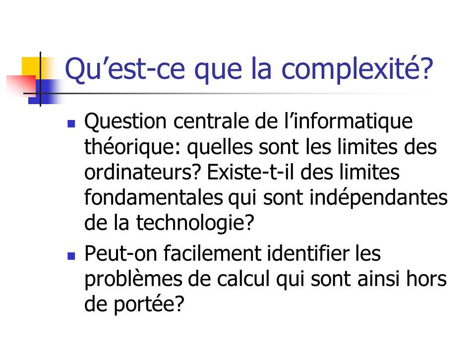 Qu'est-ce que la complexité?  Question centrale de l'informatique théorique: quelles sont les limites des ordinateurs? Existe-t-il des limites fondam