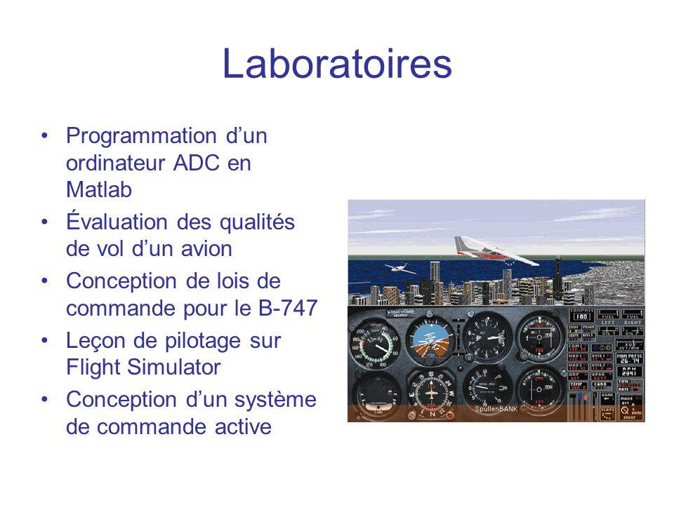 Laboratoires •Programmation d'un ordinateur ADC en Matlab •Évaluation des qualités de vol d'un avion •Conception de lois de commande pour le B-747 •Le