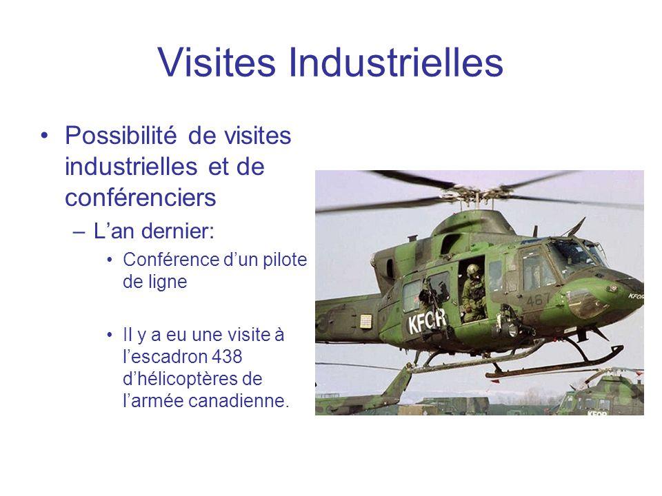Visites Industrielles •Possibilité de visites industrielles et de conférenciers –L'an dernier: •Conférence d'un pilote de ligne •Il y a eu une visite