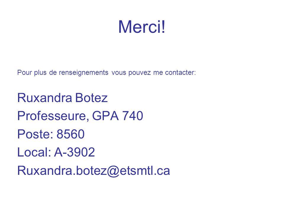 Merci! Pour plus de renseignements vous pouvez me contacter: Ruxandra Botez Professeure, GPA 740 Poste: 8560 Local: A-3902 Ruxandra.botez@etsmtl.ca