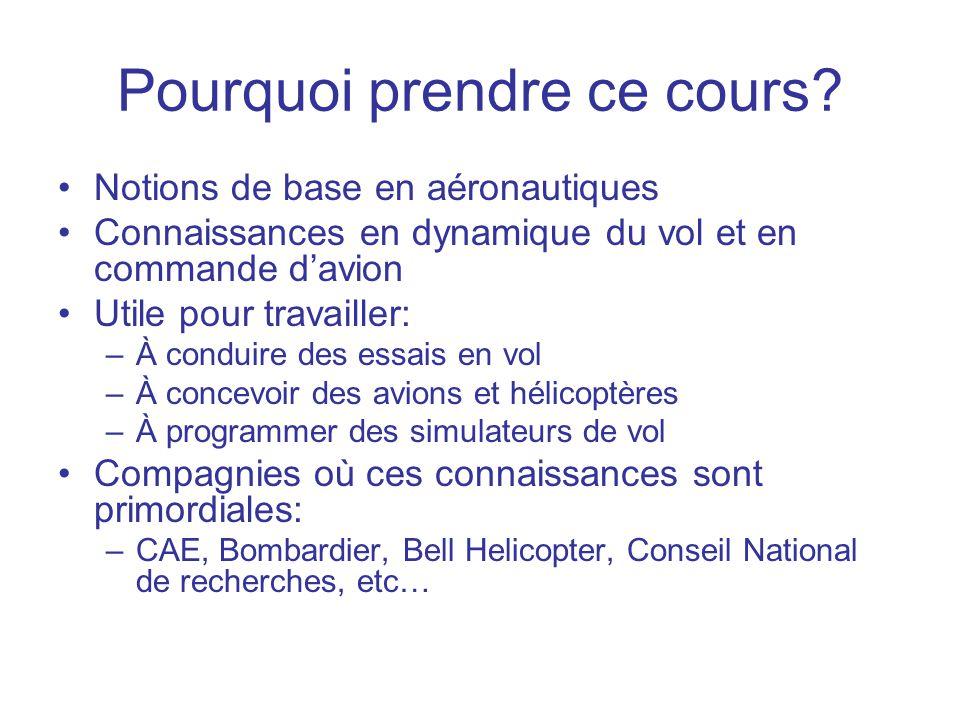 Pourquoi prendre ce cours? •Notions de base en aéronautiques •Connaissances en dynamique du vol et en commande d'avion •Utile pour travailler: –À cond