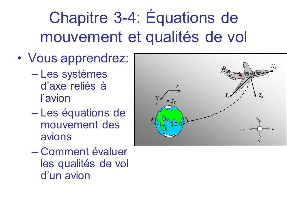 Chapitre 3-4: Équations de mouvement et qualités de vol •Vous apprendrez: –Les systèmes d'axe reliés à l'avion –Les équations de mouvement des avions