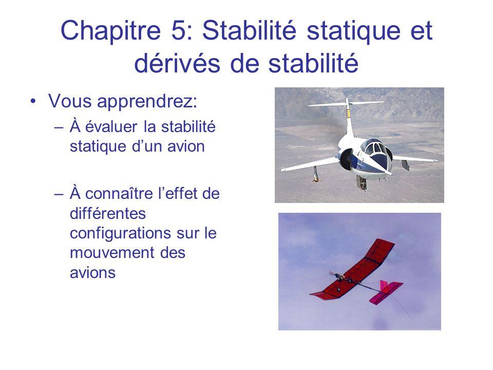 Chapitre 5: Stabilité statique et dérivés de stabilité •Vous apprendrez: –À évaluer la stabilité statique d'un avion –À connaître l'effet de différent