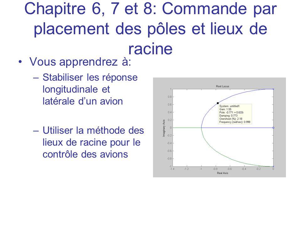 Chapitre 6, 7 et 8: Commande par placement des pôles et lieux de racine •Vous apprendrez à: –Stabiliser les réponse longitudinale et latérale d'un avi