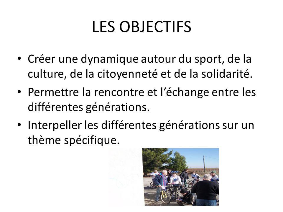LES OBJECTIFS • Créer une dynamique autour du sport, de la culture, de la citoyenneté et de la solidarité.