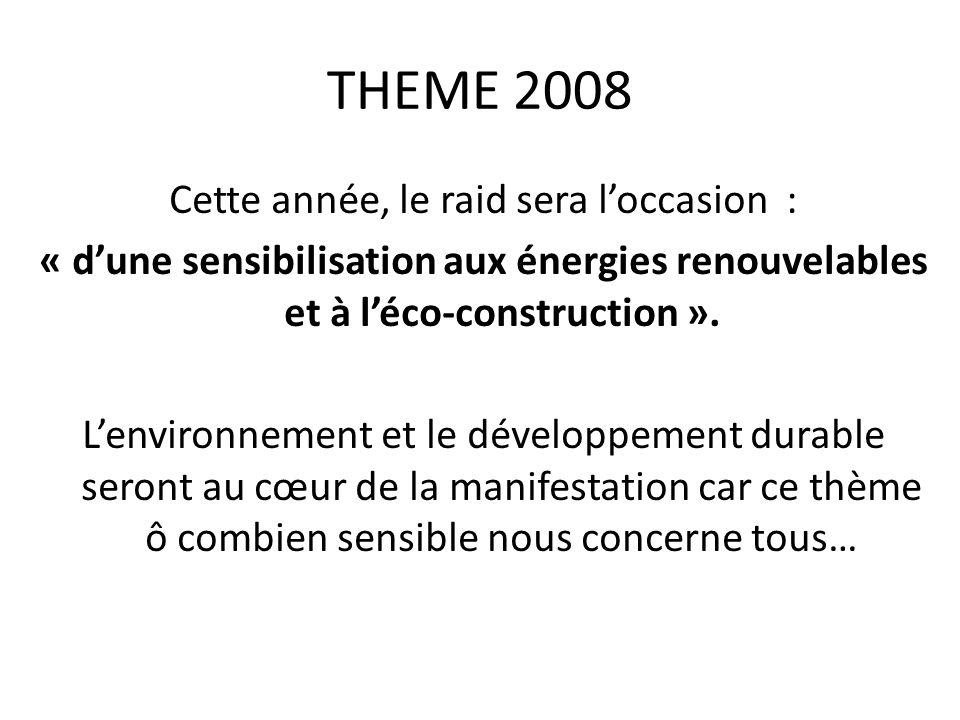THEME 2008 Cette année, le raid sera l'occasion : « d'une sensibilisation aux énergies renouvelables et à l'éco-construction ».