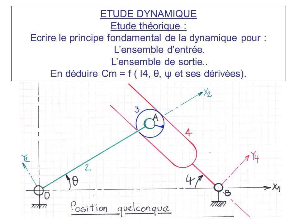 ETUDE DYNAMIQUE Etude théorique : Ecrire le principe fondamental de la dynamique pour : L'ensemble d'entrée. L'ensemble de sortie.. En déduire Cm = f