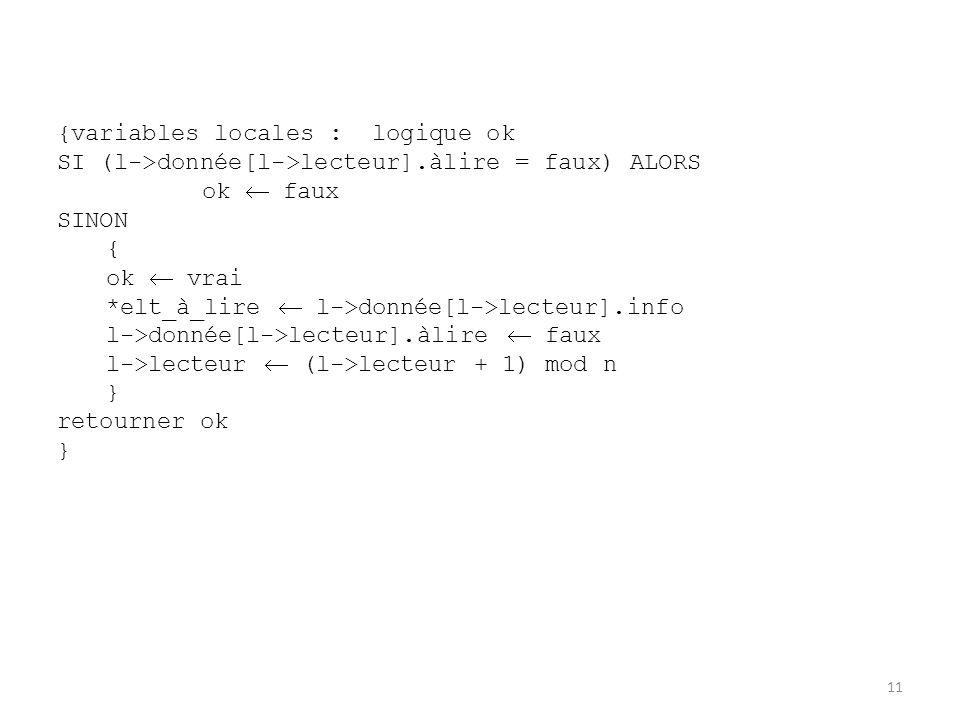 11 {variables locales : logique ok SI (l->donnée[l->lecteur].àlire = faux) ALORS ok  faux SINON { ok  vrai *elt_à_lire  l->donnée[l->lecteur].info