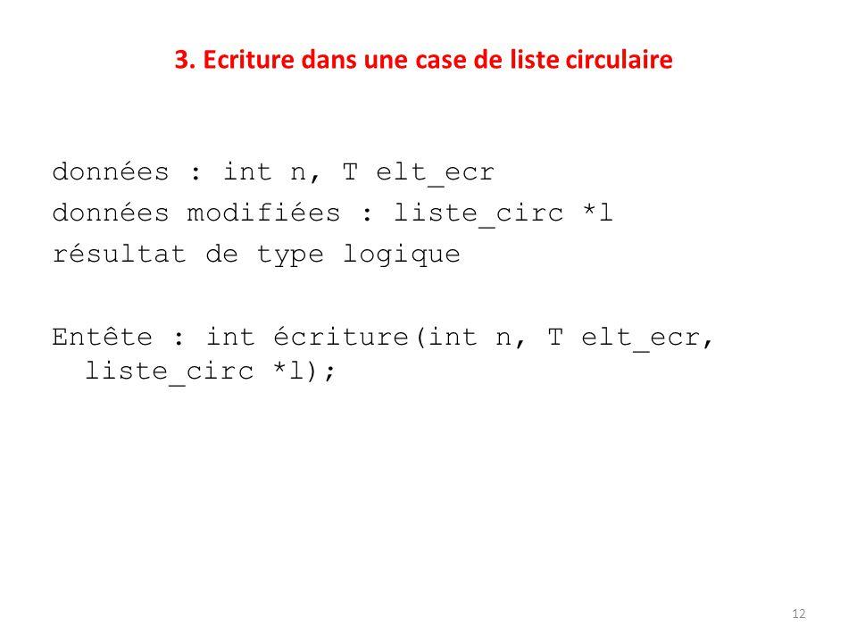 3. Ecriture dans une case de liste circulaire données : int n, T elt_ecr données modifiées : liste_circ *l résultat de type logique Entête : int écrit