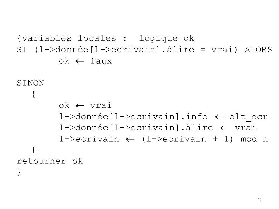 13 {variables locales : logique ok SI (l->donnée[l->ecrivain].àlire = vrai) ALORS ok  faux SINON { ok  vrai l->donnée[l->ecrivain].info  elt_ecr l-