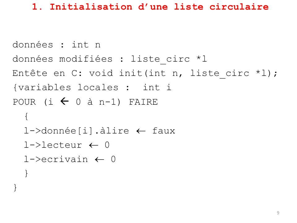 1. Initialisation d'une liste circulaire données : int n données modifiées : liste_circ *l Entête en C: void init(int n, liste_circ *l); {variables lo