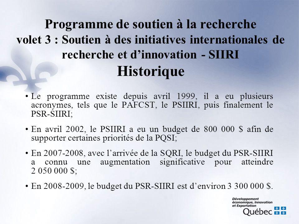 Programme de soutien à la recherche volet 3 : Soutien à des initiatives internationales de recherche et d'innovation - SIIRI Historique •Le programme