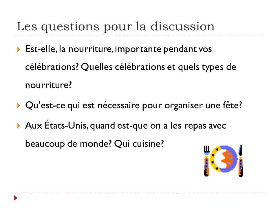 Les questions pour la discussion  Est-elle, la nourriture, importante pendant vos célébrations.