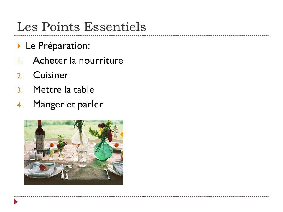 Les Points Essentiels  Le Préparation: 1. Acheter la nourriture 2.