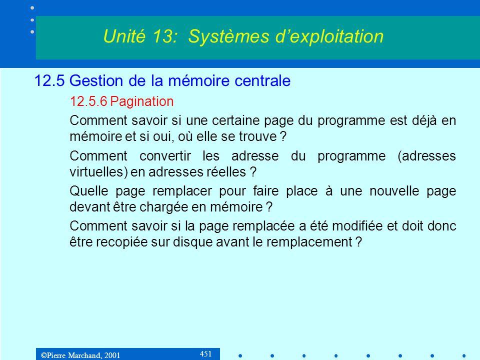 ©Pierre Marchand, 2001 451 12.5 Gestion de la mémoire centrale 12.5.6 Pagination Comment savoir si une certaine page du programme est déjà en mémoire