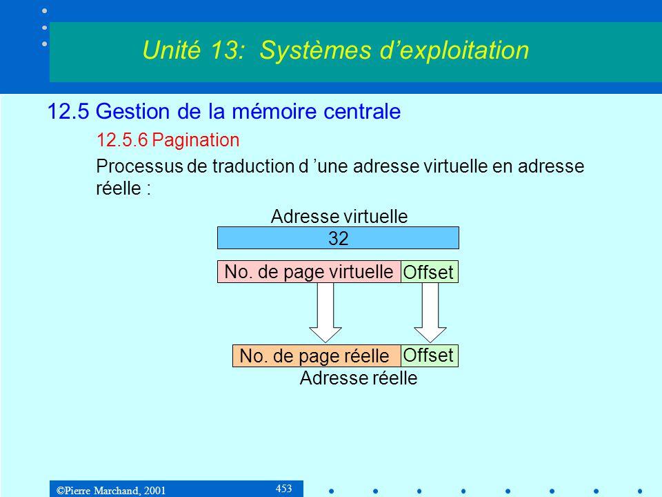 ©Pierre Marchand, 2001 453 12.5 Gestion de la mémoire centrale 12.5.6 Pagination Processus de traduction d 'une adresse virtuelle en adresse réelle :