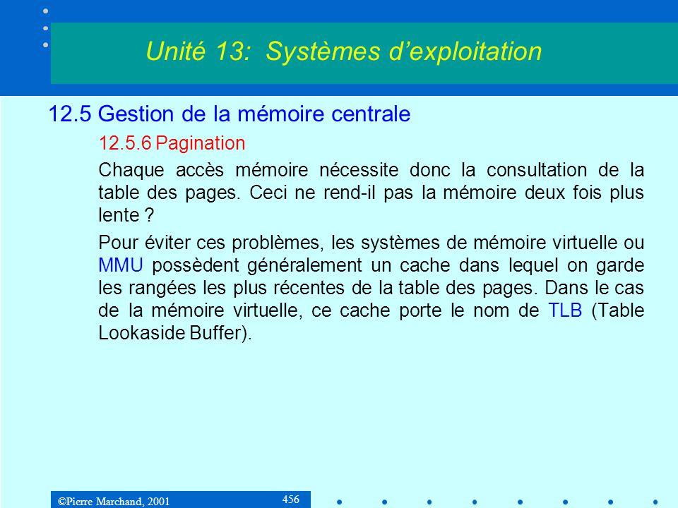 ©Pierre Marchand, 2001 456 12.5 Gestion de la mémoire centrale 12.5.6 Pagination Chaque accès mémoire nécessite donc la consultation de la table des pages.