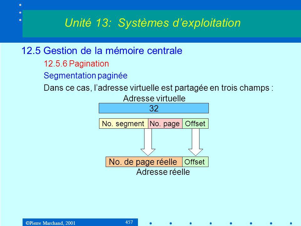 ©Pierre Marchand, 2001 457 12.5 Gestion de la mémoire centrale 12.5.6 Pagination Segmentation paginée Dans ce cas, l'adresse virtuelle est partagée en trois champs : Unité 13: Systèmes d'exploitation 32 No.