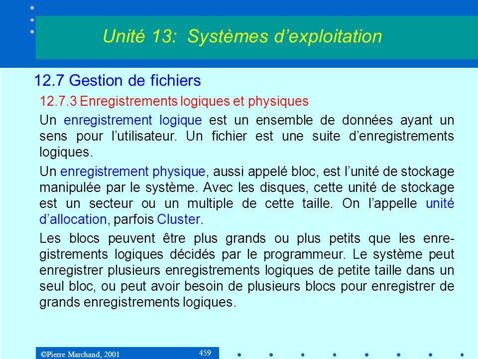 ©Pierre Marchand, 2001 459 12.7 Gestion de fichiers 12.7.3 Enregistrements logiques et physiques Un enregistrement logique est un ensemble de données ayant un sens pour l'utilisateur.