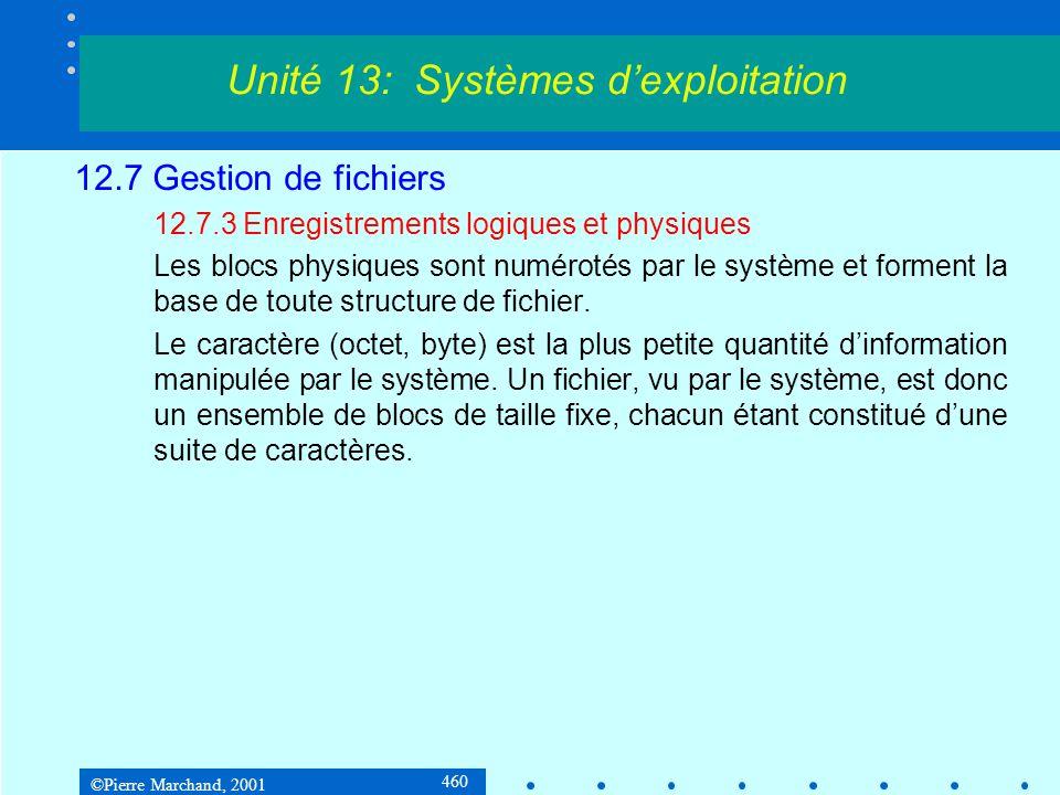 ©Pierre Marchand, 2001 460 12.7 Gestion de fichiers 12.7.3 Enregistrements logiques et physiques Les blocs physiques sont numérotés par le système et forment la base de toute structure de fichier.