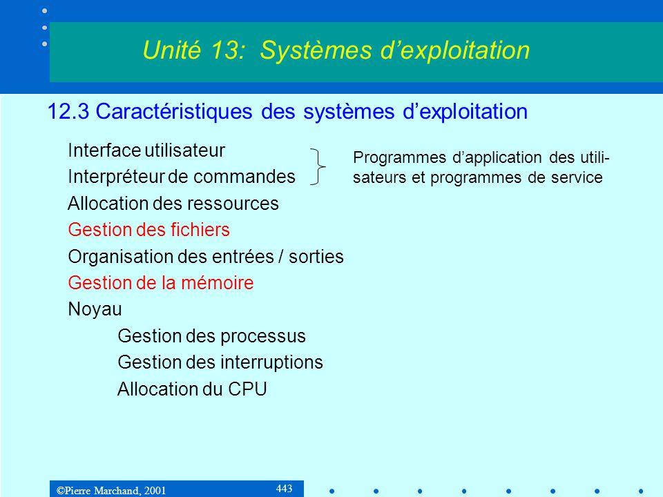 ©Pierre Marchand, 2001 443 12.3 Caractéristiques des systèmes d'exploitation Interface utilisateur Interpréteur de commandes Allocation des ressources