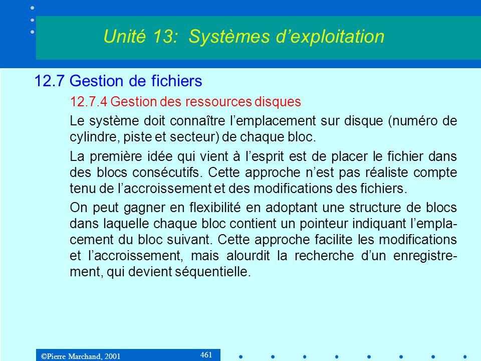 ©Pierre Marchand, 2001 461 12.7 Gestion de fichiers 12.7.4 Gestion des ressources disques Le système doit connaître l'emplacement sur disque (numéro de cylindre, piste et secteur) de chaque bloc.
