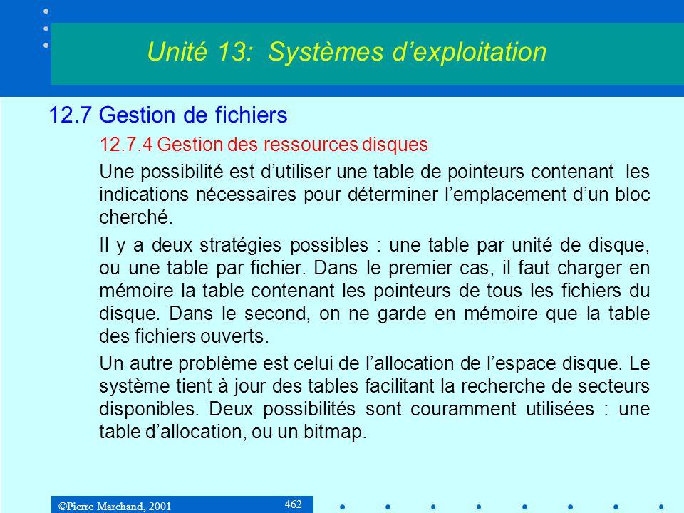 ©Pierre Marchand, 2001 462 12.7 Gestion de fichiers 12.7.4 Gestion des ressources disques Une possibilité est d'utiliser une table de pointeurs contenant les indications nécessaires pour déterminer l'emplacement d'un bloc cherché.