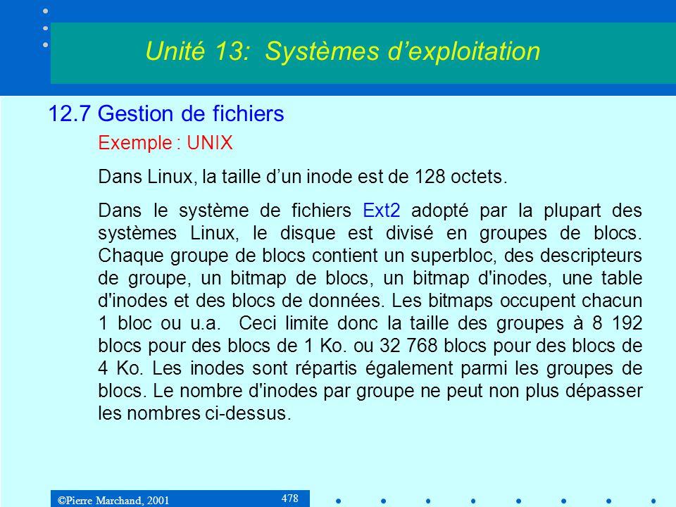 ©Pierre Marchand, 2001 478 12.7 Gestion de fichiers Exemple : UNIX Dans Linux, la taille d'un inode est de 128 octets. Dans le système de fichiers Ext