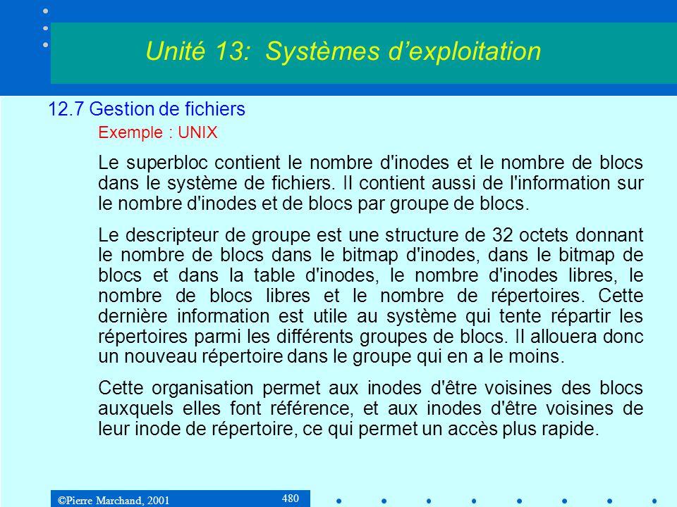 ©Pierre Marchand, 2001 480 12.7 Gestion de fichiers Exemple : UNIX Le superbloc contient le nombre d'inodes et le nombre de blocs dans le système de f