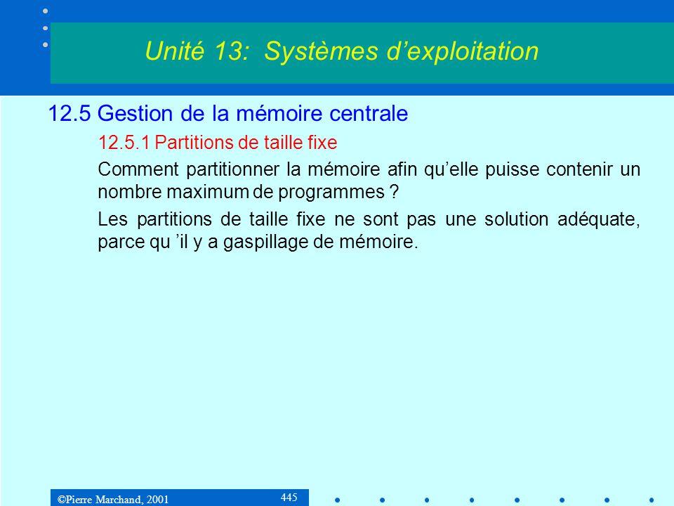 ©Pierre Marchand, 2001 445 12.5 Gestion de la mémoire centrale 12.5.1 Partitions de taille fixe Comment partitionner la mémoire afin qu'elle puisse co