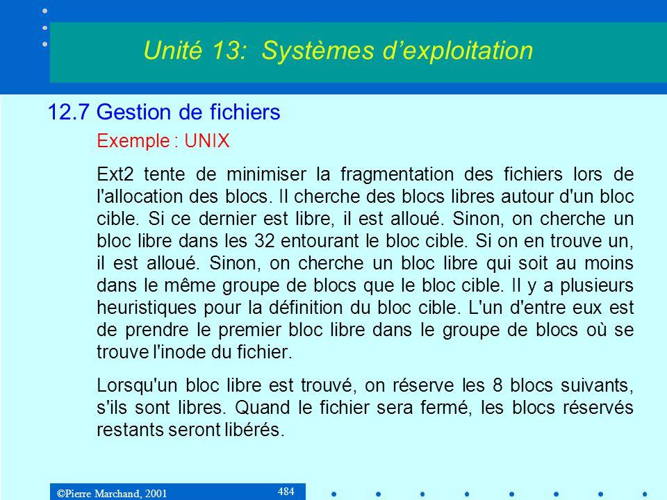 ©Pierre Marchand, 2001 484 12.7 Gestion de fichiers Exemple : UNIX Ext2 tente de minimiser la fragmentation des fichiers lors de l allocation des blocs.