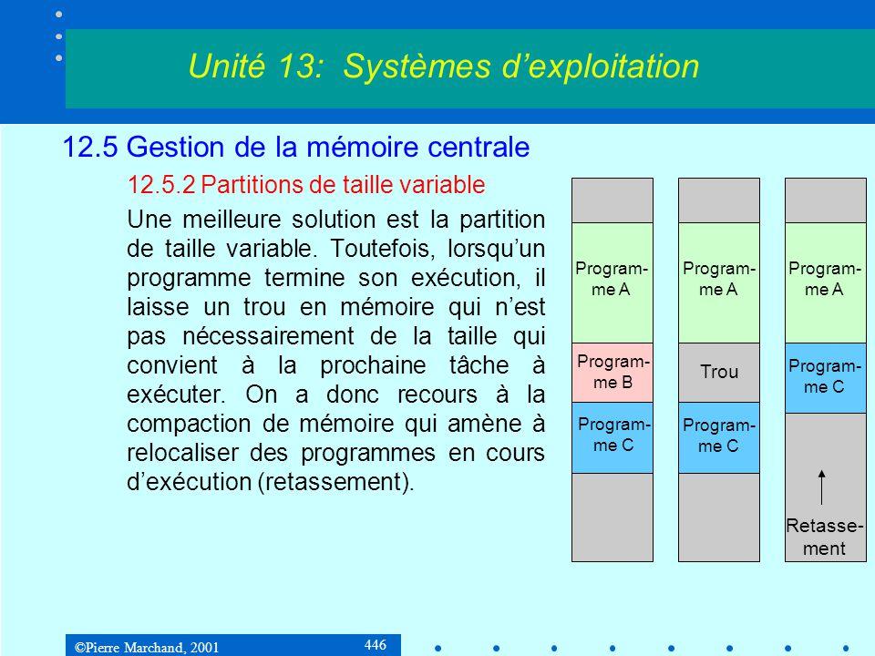 ©Pierre Marchand, 2001 446 12.5 Gestion de la mémoire centrale 12.5.2 Partitions de taille variable Une meilleure solution est la partition de taille