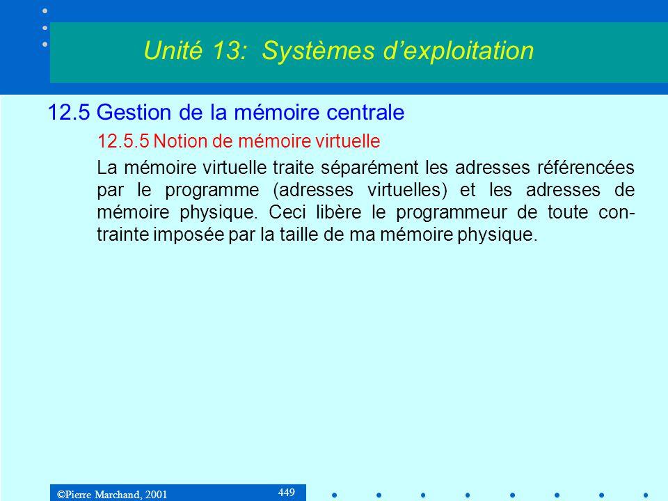 ©Pierre Marchand, 2001 449 12.5 Gestion de la mémoire centrale 12.5.5 Notion de mémoire virtuelle La mémoire virtuelle traite séparément les adresses référencées par le programme (adresses virtuelles) et les adresses de mémoire physique.