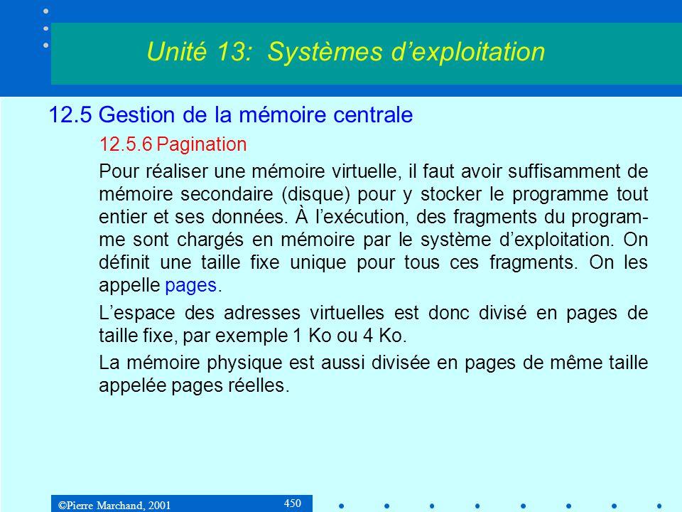 ©Pierre Marchand, 2001 450 12.5 Gestion de la mémoire centrale 12.5.6 Pagination Pour réaliser une mémoire virtuelle, il faut avoir suffisamment de mémoire secondaire (disque) pour y stocker le programme tout entier et ses données.