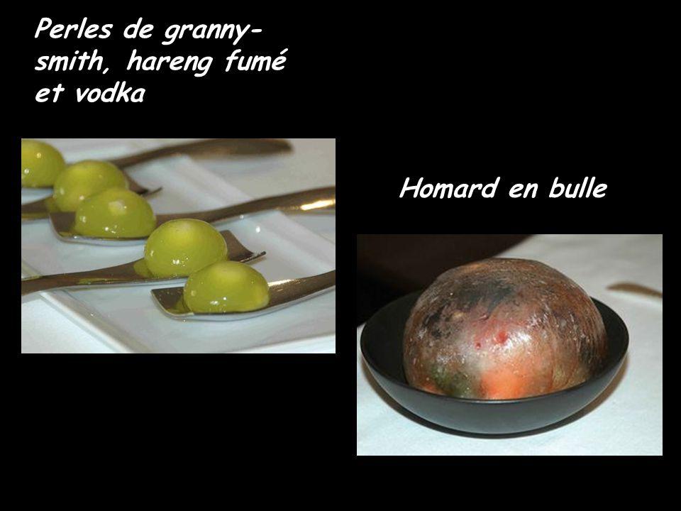 Perles de granny- smith, hareng fumé et vodka Homard en bulle