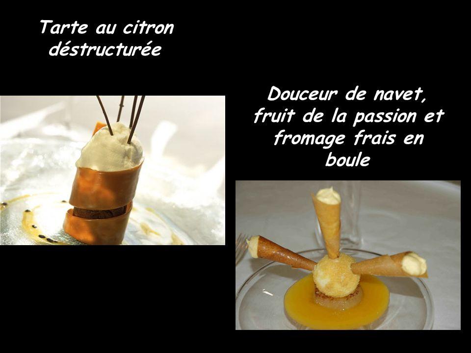 Tarte au citron déstructurée Douceur de navet, fruit de la passion et fromage frais en boule