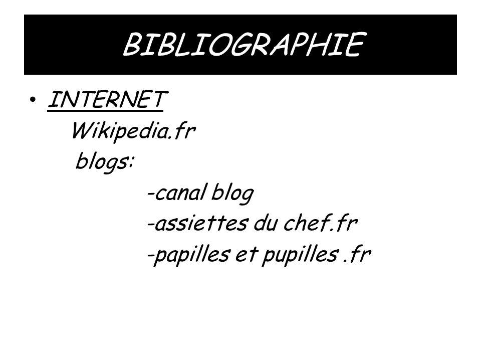 BIBLIOGRAPHIE • INTERNET Wikipedia.fr blogs: -canal blog -assiettes du chef.fr -papilles et pupilles.fr