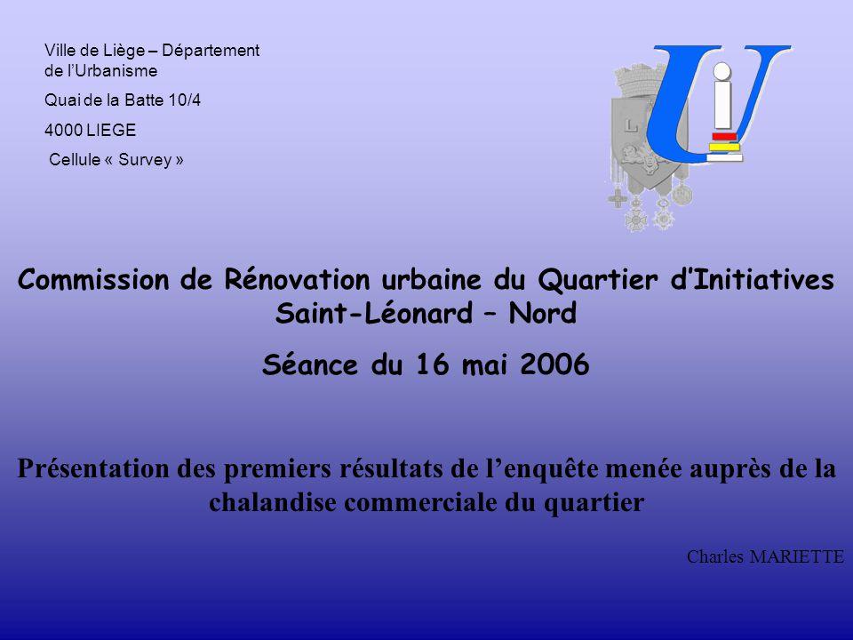 Commission de Rénovation urbaine du Quartier d'Initiatives Saint-Léonard – Nord Séance du 16 mai 2006 Présentation des premiers résultats de l'enquête