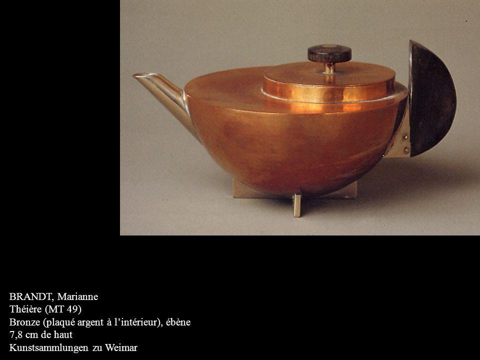 BRANDT, Marianne Théière (MT 49) Bronze (plaqué argent à l'intérieur), ébène 7,8 cm de haut Kunstsammlungen zu Weimar