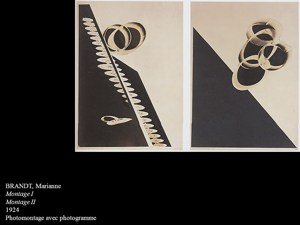 BRANDT, Marianne Montage I Montage II 1924 Photomontage avec photogramme