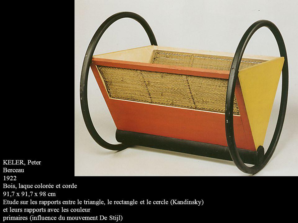 KELER, Peter Berceau 1922 Bois, laque colorée et corde 91,7 x 91,7 x 98 cm Etude sur les rapports entre le triangle, le rectangle et le cercle (Kandinsky) et leurs rapports avec les couleur primaires (influence du mouvement De Stijl)