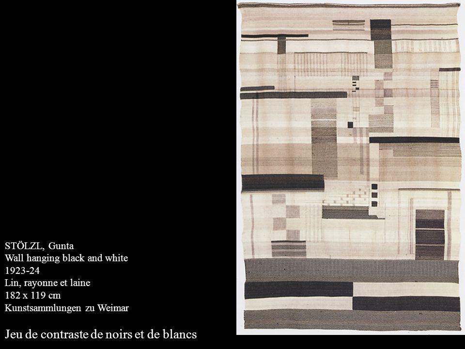 STÖLZL, Gunta Wall hanging black and white 1923-24 Lin, rayonne et laine 182 x 119 cm Kunstsammlungen zu Weimar Jeu de contraste de noirs et de blancs